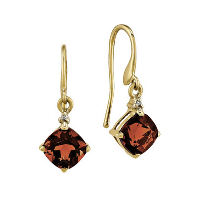 Cushion-Cut Genuine Garnet and Diamond-Accent 14K Yellow Gold Drop Earrings