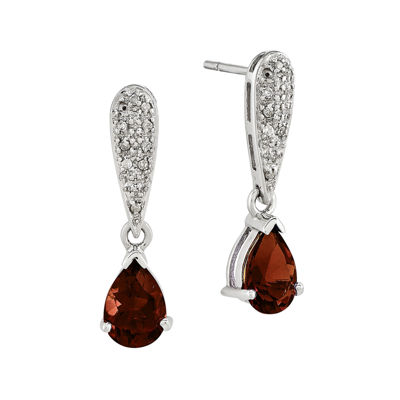 1/10 CT. T.W. Diamond Genuine Garnet 14K White Gold Dangle Earrings
