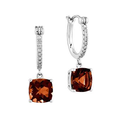 1/10 CT. T.W. Diamond and Genuine Garnet 14K White Gold Dangle Hoop Earrings