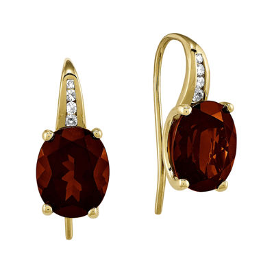 Oval Genuine Garnet and Diamond-Accent 14K Yellow Gold Dangle Earrings