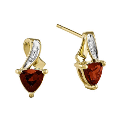 Trillion-Cut Genuine Garnet and Diamond-Accent 14K Yellow Gold Earrings