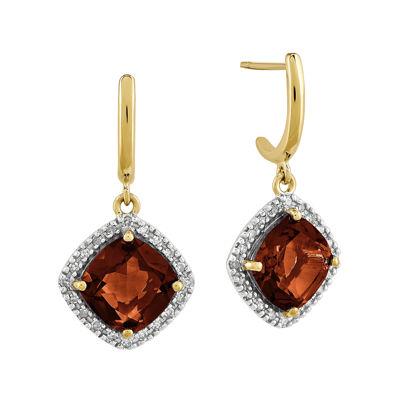 1/5 CT. T.W. Diamond Genuine Red Garnet 14K Yellow Gold Halo Earrings
