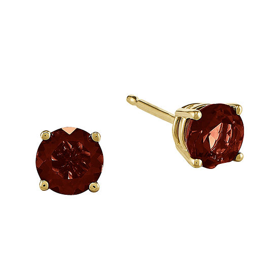 Genuine Red Garnet 14K Yellow Gold Stud Earrings