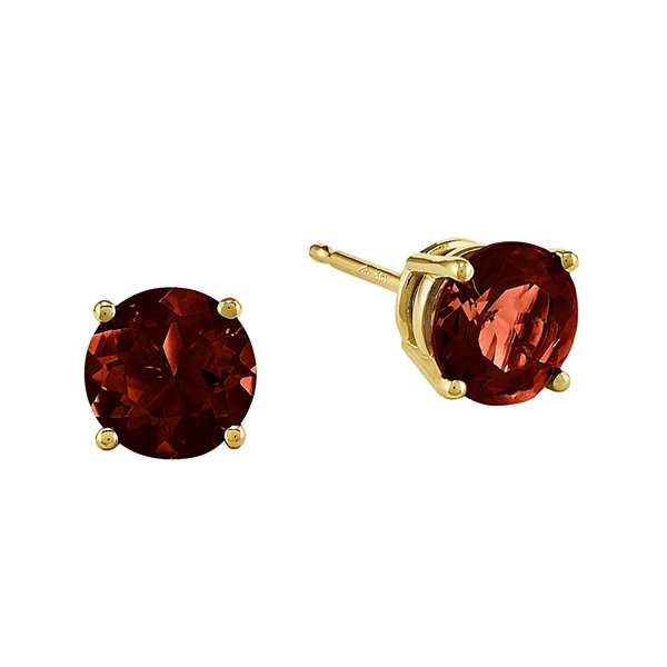 Genuine Red Garnet 14K Yellow Gold Heart-Shaped Earrings