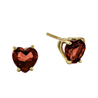 Fine Jewelry Genuine Red Garnet 14K Yellow Gold Heart-Shaped Earrings ndpSL