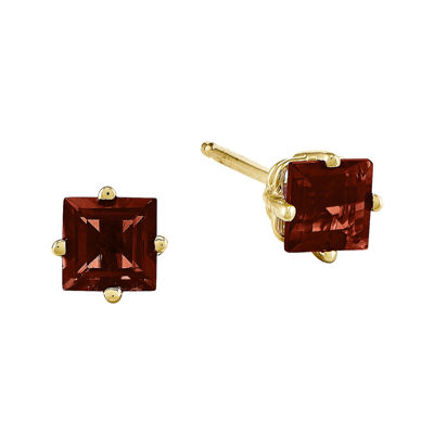 Genuine Red Garnet 14K Yellow Gold Princess-Cut  Earrings