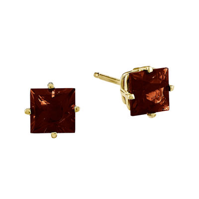 Genuine Red Garnet 14K Yellow Gold Princess-Cut Earrings