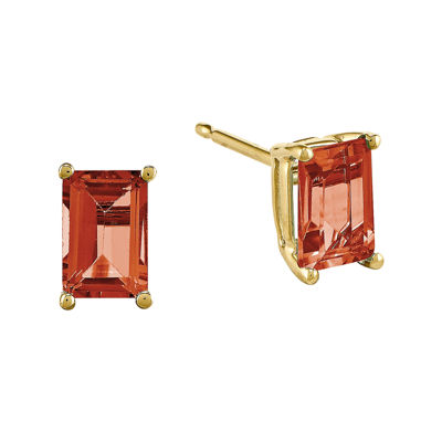 Genuine Red Garnet 14K Yellow Gold Emerald-Cut Earrings