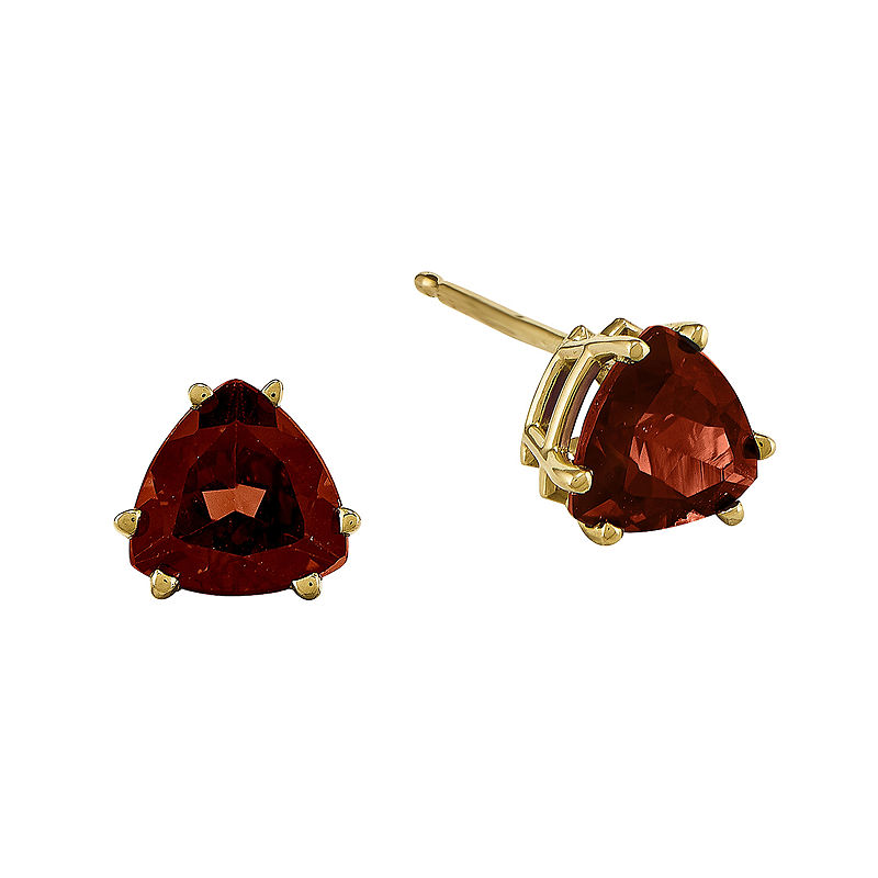 Genuine Red Garnet 14K Yellow Gold Trillion-Cut Earrings
