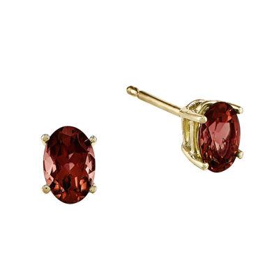 Genuine Red Garnet 14K Yellow Gold Oval Earrings