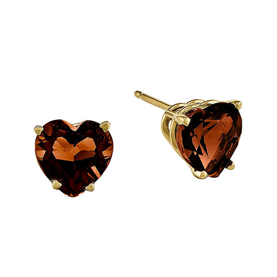 Genuine Red Garnet 14k Yellow Gold Heart Shaped Earrings