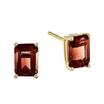Genuine Garnet 14K Yellow Gold Emerald-Cut Earrings