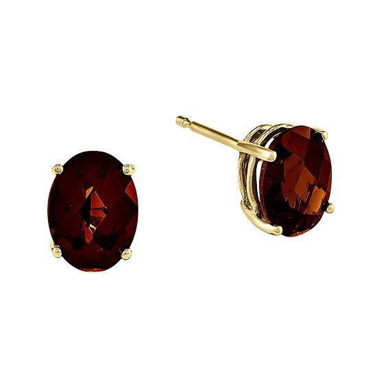 Genuine Garnet 14K Yellow Gold Oval Earrings