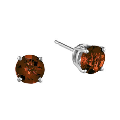 Genuine Garnet 14K White Gold Round Earrings