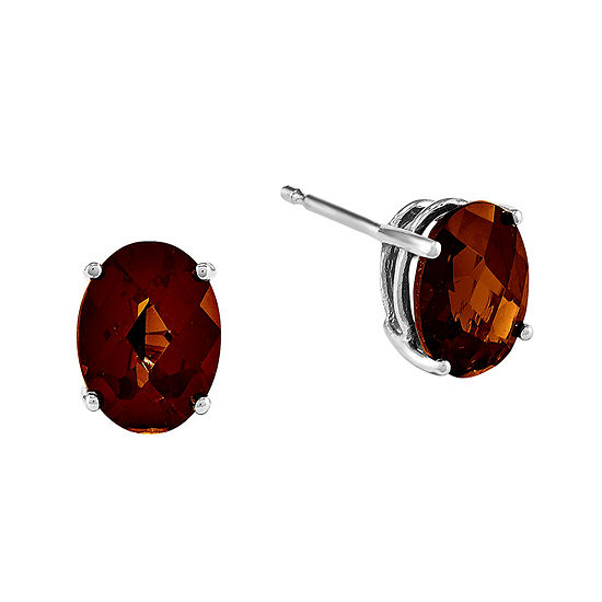Genuine Garnet 14K White Gold Checker Earrings