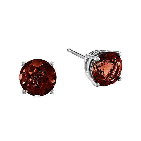 Genuine Red Garnet 14K White Gold Stud Earrings