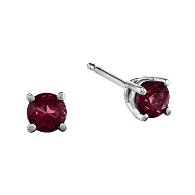 Genuine Red Rhodolite 14K White Gold Stud Earrings