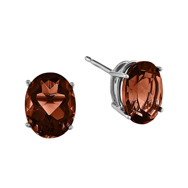 Genuine Garnet 14K White Gold Stud Earrings