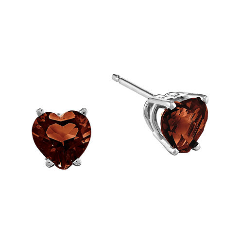 Genuine Garnet 14K White Gold Heart Stud Earrings