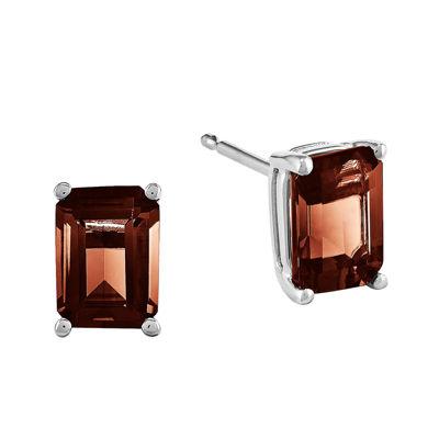 14k White Gold Emerald-Cut Genuine Garnet Earrings