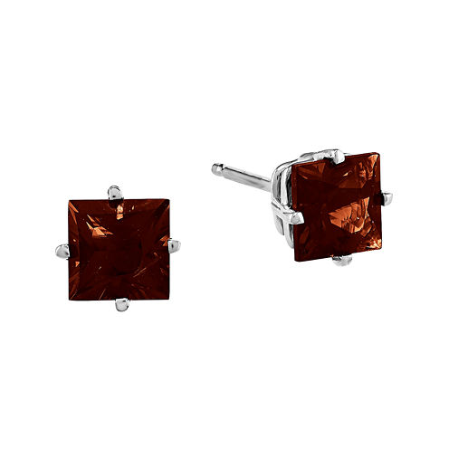 Genuine Garnet 14K White Gold Princess-Cut Earrings