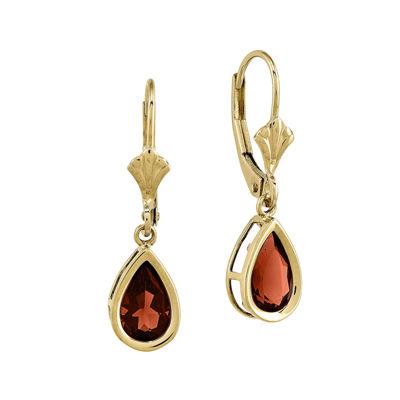Genuine Garnet 14K Yellow Gold Pear Drop Earrings