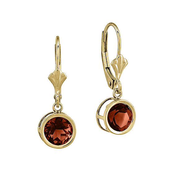 Genuine Garnet 14K Yellow Gold Round Drop Earrings