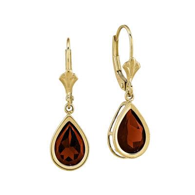 Genuine Red Garnet 14K Yellow Gold Drop Earrings