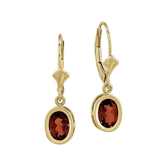 Genuine Red Garnet 14K Yellow Gold Oval Drop Earrings