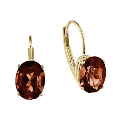 Genuine Red Garnet 14K Yellow Gold Oval Drop Earrings