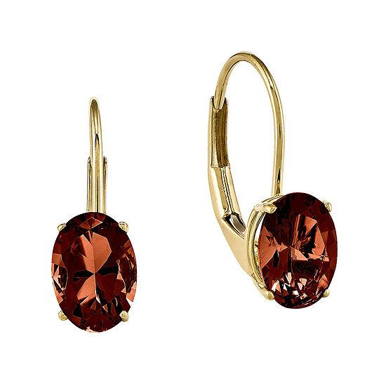 Genuine Garnet 14K Yellow Gold Earrings