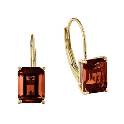 Genuine Garnet 14K Yellow Gold Emerald-Cut Earrings