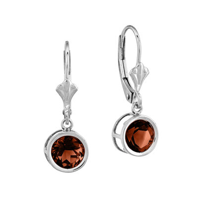 Genuine Garnet 14K White Gold Earrings