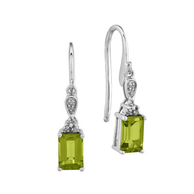 Genuine Peridot and Diamond-Accent 14K White Gold Square Drop Earrings