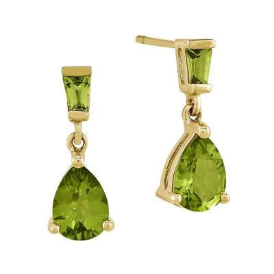 Genuine Peridot 14K Yellow Gold Two-Stone Earrings