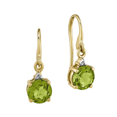Genuine Peridot and Diamond-Accent 14K Yellow Gold Round Drop Earrings
