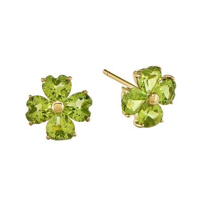 Genuine Peridot 14K Yellow Gold Heart-Shaped Flower Earrings