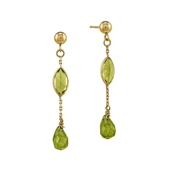 Fine Jewelry Genuine Peridot 14K Yellow Gold Genuine Peridot Drop Earrings ckrar