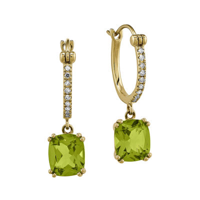 1/10 CT. T.W. Diamond Genuine Peridot 14K Yellow Gold Hoop Earrings