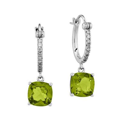 1/10 CT. T.W. Diamond Genuine Peridot 14K White Gold Drop Earrings