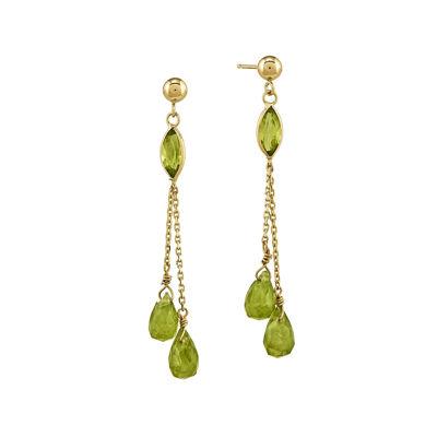Genuine Green Peridot 14K Yellow Gold Three-Stone Earrings