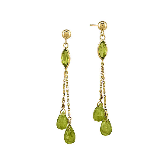 Genuine Green Peridot 14K Yellow Gold Three-Stone Earrings