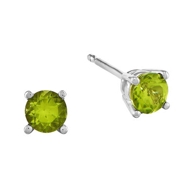 Genuine Green Peridot 14K White Gold Stud Earrings