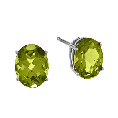 Genuine Peridot 14K White Gold Oval Earrings