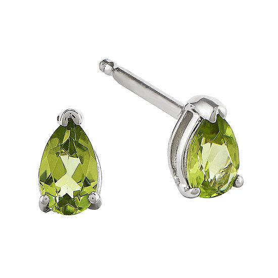 Genuine Peridot 14K White Gold Pear-Shaped Earrings