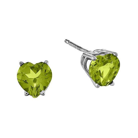 Genuine Peridot 14K White Gold Heart-Shaped Earrings