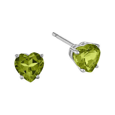 Genuine Peridot 14K White Gold Heart-Shaped Earrings