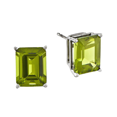 Genuine Peridot 14K White Gold Emerald-Cut Earrings