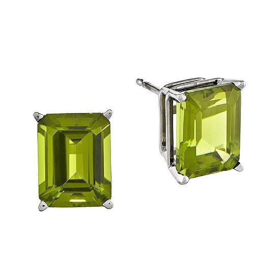 Genuine Peridot 14K White Gold Emerald-Cut Earrings