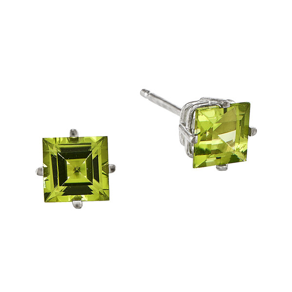 Genuine Peridot 14K White Gold Square Step-Cut Earrings